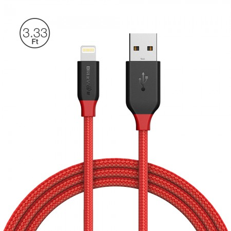 BlitzWolf kabel Lightning 1m do iPhone iPad czerwony